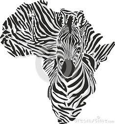 Map Of Africa With The Head Zebra Stock Vector - Illustration of illustration, surrealist: 53315696 Art Clipart, Vector Art, Africa Map Tattoo, Afrika Tattoos, Tatoo Manga, Afrique Art, Especie Animal, Map Tattoos, Marquesan Tattoos