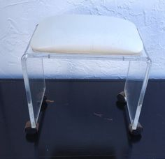 Vintage Lucite Vanity Stool Bench Ottoman Wheels Castors Hollywood ...