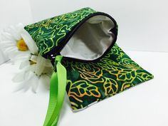 Green Batik Waterproof Pouch, Personal Size Wet Bag, for Reusable Feminine Products, Small Zipper Pouch, PUL Lining Quick Dry Design