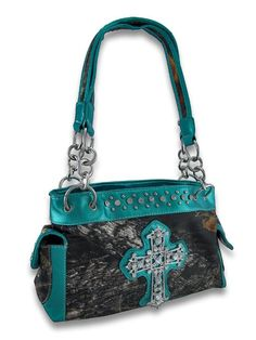 $34.99 Things2Die4 Studded Camouflage Rhinestone Cross Purse Metallic Teal Trim  Teal trimmed purse with cross.