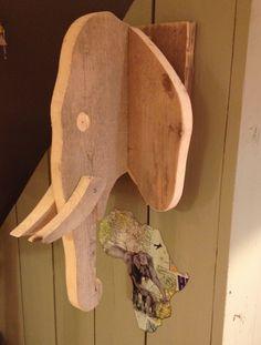 Cabeza de elefante de madera!