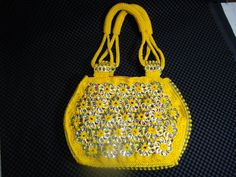 Lemon Yellow Crocheted Pop Tab Purse