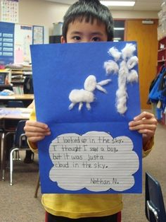 """Cotton ball cloud activity from the book, """"It Looked Like Spilt Milk"""". The kids loved it."""