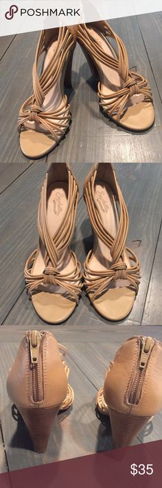 Nude heeled sandals Nude healed sandal with zipper in back. Seychelles Shoes Heels