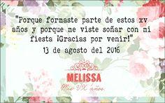 2. Agradecimiento de quinceñera [XV] [15 años] [oración] [misa] [flores] [rosa coral]☆.