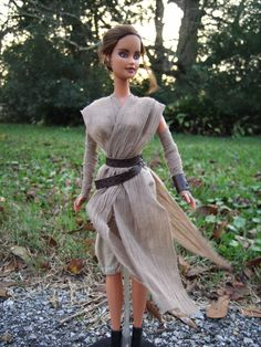 "Rey Repaint/Hair Restyle Barbie Doll and Costume from ""Star Wars VII: The Force Awakens"" - by Morgan May @ Stardust Dolls - http://www.stardustdolls.com"