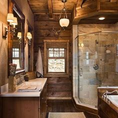 Loving the shower & ceiling in this #rustic #masterbath. Visit us for home tours and more link in bio @HomeChannelTV