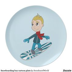 Snowboarding boy cartoon plate