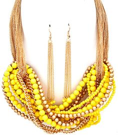 Yellow beads chunky golden chain links fashion necklace from Miss Diza.