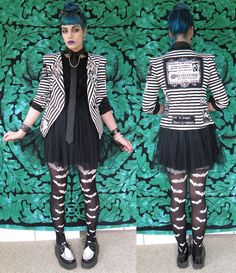 """thegothicalice: """" Ties and dresses go surprisingly well together. Jacket from Forever 21 and modified by me (main back patch from Kreepshow Kouture on Etsy), bat tights from Amazon, shoes are TUK, bat..."""
