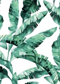 Banana Leaves Watercolor Print, Green Wall Art Home Decor
