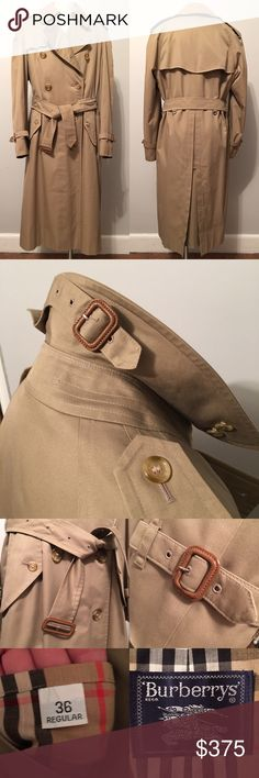 Men's Vintage Burberry Trench Coat 36 Reg Mint condition Authentic Men's Burberry with removable wool liner and separate removable wool collar.  All buttons, belts and buckles are in perfect condition. You won't find this classic trench coat in better condition. Pet free/Smoke free! #Poshman #Men Burberry Jackets & Coats Trench Coats