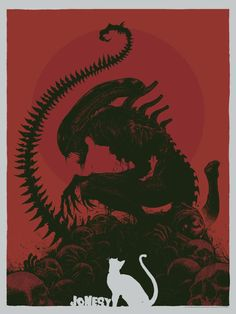 With Alien: Covenant coming up, fans have xenomorphs on the brain, and in this new artwork by artist Godmachine, a xenomorph is literally perching on top of a pile of them. Alien Vs Predator, Art Alien, Giger Alien, 7 Arts, Giger Art, Alien 1979, Pet Sematary, Culture Pop, Aliens Movie