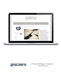 Premade Blogger Template Simple Instant Download by ONESMFA, $15.00