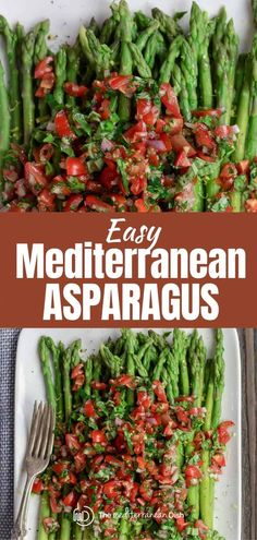 This easy asparagus recipe will surprise your taste buds in the best way possible! Simple blanched asparagus, topped with a bright tomato salsa with fresh herbs.  Great appetizer, salad or side. Vegan. GF Easy Asparagus Recipes, Fresh Tomato Recipes, How To Cook Asparagus, Veggie Recipes, Healthy Recipes, Gf Recipes, Easy Recipes, Vegetarian Recipes, Mediterranean Diet Recipes