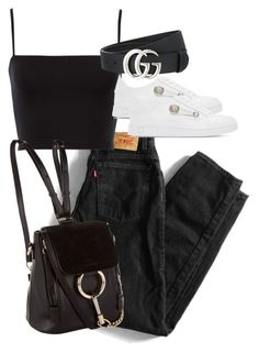 """Untitled #4446"" by theeuropeancloset ❤ liked on Polyvore featuring Levi's, Gucci and Versus"