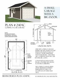 Two car garage plan 572 6 22 39 x 26 39 by behm design for How big is a standard garage door