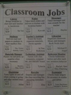 Classroom Jobs not only allows students to take initiative in the classroom and involves each student but they must also become accountable for their actions and becoming independent. Also they learn about economies and how money works. Life Skills Classroom, 5th Grade Classroom, Classroom Jobs, Classroom Organisation, Classroom Behavior, Future Classroom, Classroom Management, Classroom Setup, Behavior Management
