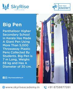 Big Pen: Panthalloor Higher Secondary School in Kerala Has Made A Giant Pen Using More Than Throwaway Plastic Pens Collected By Students. Big Pen is 7 m Long, Weighs 68 kg and Has A Diameter of 30 cm. Big Pen, Civil Service, Online Coaching, Secondary School, Kerala, Did You Know, Pens, Students, Plastic