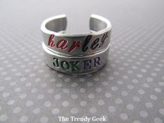 Harley Quinn and the Joker Inspired Hand Stamped Adjustable Rings Etsy.com..... love these!