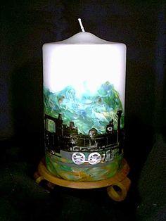 "Kerze ""Modelleisenbahn"" Pillar Candles, Model Train, Candles, Photo Illustration, Taper Candles"
