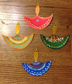 Art And Craft For Diwali Decoration Of Hanging Paper Diyas Art Projects For Kids Pinterest