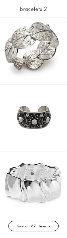 """""""bracelets 2"""" by alina-mussaevna ❤ liked on Polyvore featuring jewelry, bracelets, silver, leaves jewelry, michael aram, sterling silver jewelry, sterling silver jewellery, sterling silver bangles, cuff and sterling silver"""