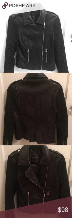 French connection black mixed media leather moto jacket