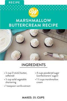 Marshmallow Buttercream Frosting Recipe, Cake Icing, Icing Recipe, Wilton Icing, Cupcakes, Cupcake Cakes, Sweet Recipes, Cake Recipes, Dessert Recipes