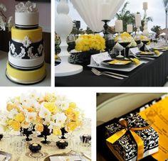 Torta de boda rococó en blanco, negro y amarillo