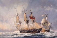 """""""To Glory We Steer,"""" by Geoffrey Huband. """"HMS Phalarope"""" trades broadsides with the American privateer """"Andiron"""" in January 1782 off Portsmouth."""