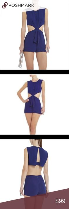 BCBG Riyanne Romper Orient blue. Sexy cut-out twist romper. Fun back. Sleeveless. Brand new. With tags. Never been worn. BCBG Other