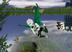 More time and space paradox moments when nature and a passing green planets collide in the sky! Panda pet needs rescue! lol