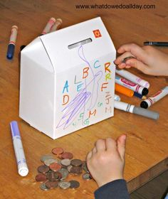 Teach kids about the tzedakah and the responsibility of giving to others and make tzedakah boxes for the home. Teaching Activities, Holiday Activities, Toddler Activities, Teaching Kids, Toddler Crafts, Crafts For Kids, Tzedakah Box, Jewish Crafts, Hebrew School