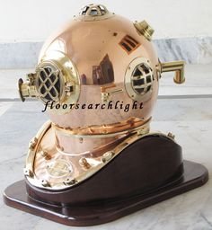 COLLECTIBLE NAUTICAL US NAVY COPPER BRASS DIVERS DIVING HELMET WITH WOODEN STAND