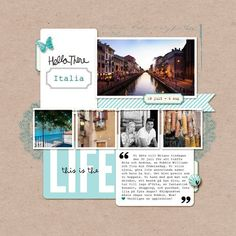 4 photos + travel + journal cards// great use of BH Project Life cards on a traditional layout Travel Journal Scrapbook, Project Life Scrapbook, Project Life Layouts, Vacation Scrapbook, Project Life Cards, Scrapbook Titles, Scrapbook Sketches, Scrapbook Page Layouts, Travel Journals