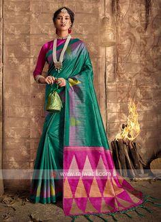 Raw Silk Green Saree... Green Silk, Green Cotton, Cotton Silk, Teal Green Color, Magenta, Sari Fabric, Fabric Art, Green Saree, Art Silk Sarees
