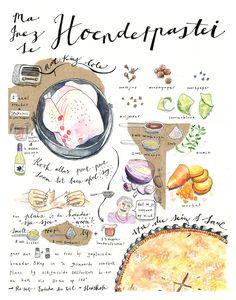 Illustrated chicken pie. Yum.
