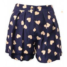 TOPSHOP VINTAGE NAVY BLUE LARGE HEART PRINT SHORTS BRAND NEW RRP 32 ❤ liked on Polyvore