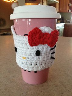 Hello Kitty Mug Cozy Free Crochet Pattern