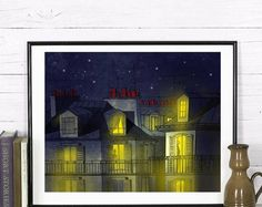 Paris/Fine art/illustration/Paris by night Illustration Art, Fine Art, Paris, Unique Jewelry, Night, Shop, Handmade, Painting, Etsy