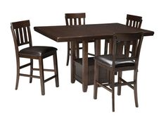 099be752c1e5 Ashley Haddigan Dark Brown 5 Pc. Rectangular Dining Room Counter Extension  Table & 4 Upholstered