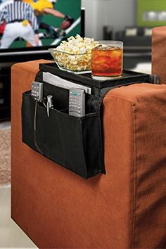 """TV Remote Control Organizer Holder With Clamp Drapes Over Sofa Arm - 6 Pockets for Remotes Books Cell Phones Storage Organization - Flat 11"""" x 6"""" Top Tray for Snacks - Brand: Perfect Life Ideas -Tm® Perfect Life Ideas http://www.amazon.com/dp/B00IMKTHRM/ref=cm_sw_r_pi_dp_Wttxwb00AR8CW"""
