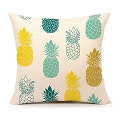 Pineapples Throw Pillow Cover Summer Beach Decor Cushion Case Decorative for Sofa Couch x Inch Cotton Linen(Blue Yellow ) -- Visit the image link more details. (This is an affiliate link) Throw Pillow Cases, Decorative Throw Pillows, Pillow Covers, Cushion Covers, Blue Couches, Shops, Light Garland, Bed Linen Design, White Home Decor