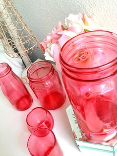 Set of 11 Stained / Dyed Jars - Bright Pink - Shabby Chic Decor - Instant Collection of Vases - Wedding Decor - Party Accessories on Etsy, $70.00