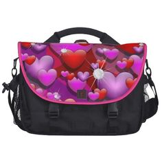Hearts Love and Diamonds laptop bag