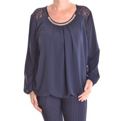 Dámska blúzka s krajkou a štrasovou ozdobou - tmavomodrá D3 13,50 € Blouse, Long Sleeve, Sleeves, Tops, Women, Fashion, Moda, Full Sleeves, Women's