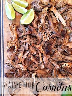 Braised Pork Carnitas Rub with killer spices and into the crock pot it goes to bathe away to a braised perfection in freshly squeezed lime juice, orange juice, a little salsa, and a bottle of Corona.Top with cilantro and sliced avocado. Perfection. - A Life From Scratch.