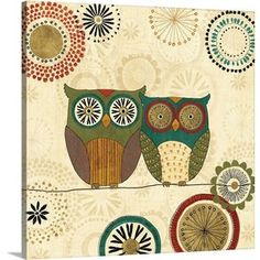 'Spice Road Owls II' by Veronique Charron Graphic Art on Wrapped Canvas
