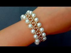 How To Make Pearl Bracelet//Bridal Bracelet// Useful & Easy Hand made bracelets Wie man Perlenarmban Gold Bridal Earrings, Bridal Bracelet, Bridesmaid Earrings, Pearl Bracelet, Beaded Earrings, Beaded Bracelets, Stackable Bracelets, Vintage Bracelet, Diy Bracelet